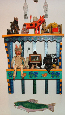 Cat shelf- a collection of folk art cats